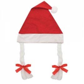 Bonnet de Noël à Tresses Rouge
