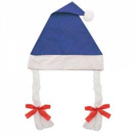 Bonnet de Noël à Tresses Bleu